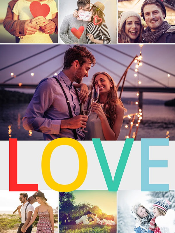 "Fotopuzzle-Collage ""LOVE"" mit 7 Bildern"