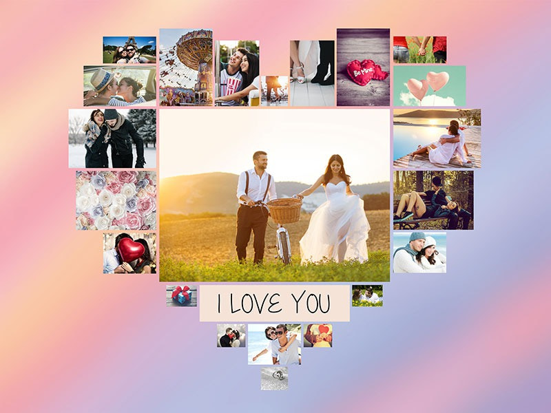 "Fotopuzzle-Collage ""I Love You"" mit 22 Bildern"